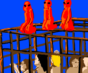 Red aliens on a rusty cage