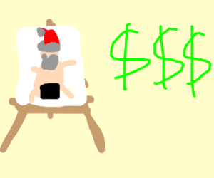 Overpriced naked Santa painting