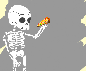 Skeleton eating pizza