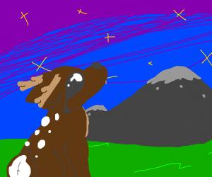 sad deer looking at the stars