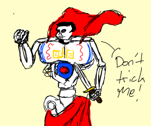 buff skeleton super hero says dont trick me
