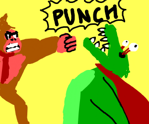 Donkey Kong punched out k rools eyeballs