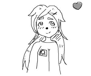 Anime girl with dog nose and teacher emoji