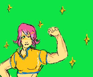 cute pink hair anime girl flexing bicep