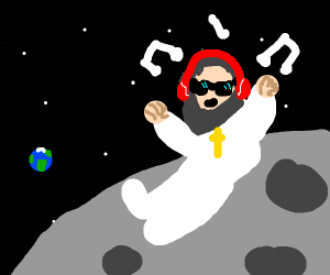 god listens to sick beats on the moon