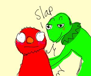 Kermit slaps elmo