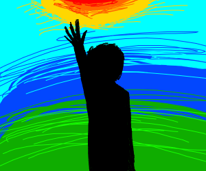 man wants to touch the sun for some reason