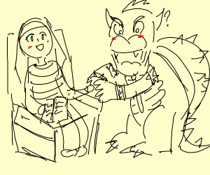 bowser holding hands with his therapist?