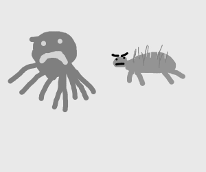 An octopus got attacked by porcupine