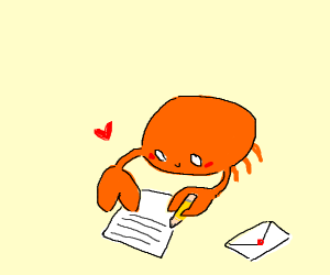crab writes letter