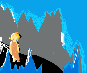 Drooling man in ice cave