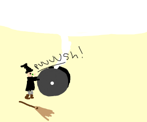 Witch pushing a plane wheel?