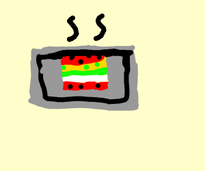 red square hamburger with white meat