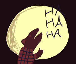 Werewolf laughing in the moonlight