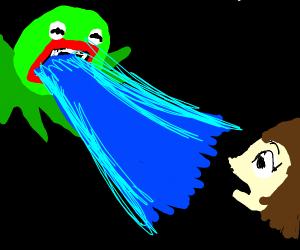 Kermit's hyper beam annoys a girl