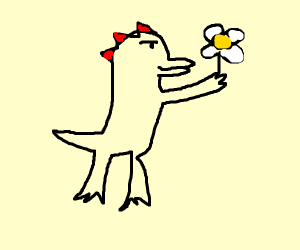 Godzilla picking a flower