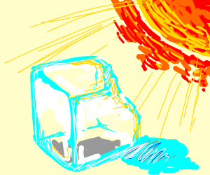 Ice cube melting in the sun