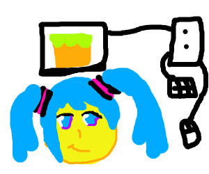 miku playing minecraft