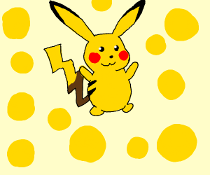 pikachi surounded by yellow balls