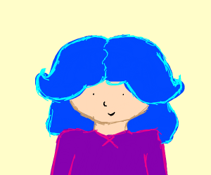 girl with big blue hair with small eyes