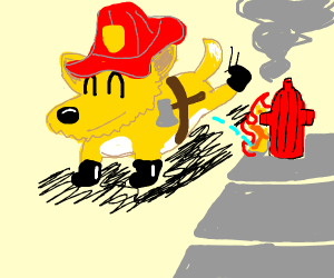 Cute firefighter dog