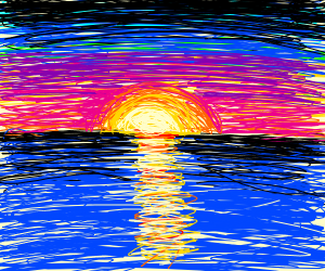 a sunset over water
