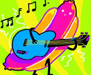 Hotdog playing a guitar