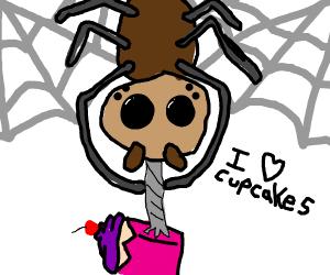 Spider taking cupcake.