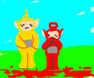 Female teletubbies with blood in the floor