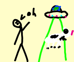 Man discovering a UFO