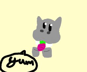Hippo eating a Radish