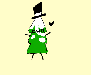 Snowy pine tree in a top hat