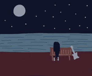Marceline sits by pond looking @ moon