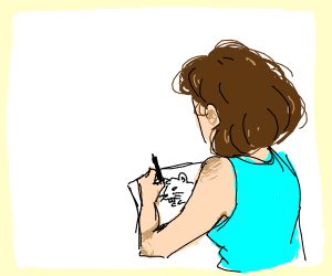 Girl drawing a picture of a rat