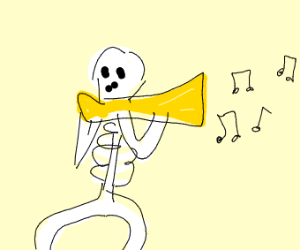 Skeleton playing a small trombone thing