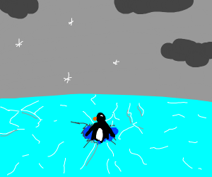penguin sinking in icy water