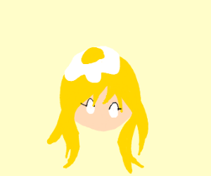 blonde girl (?) with eggs on her head