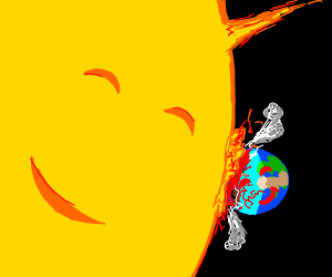 Sun and earth want to hug, but have no arms