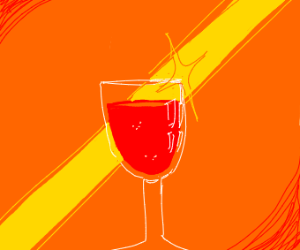 Light shining on a glass of wine