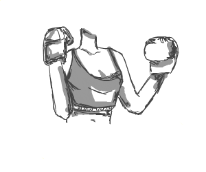 Girl wearing boxing glove