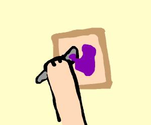 Spreading jelly on bread