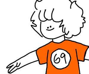 69 on Orange T-shirt