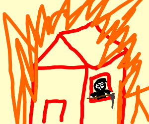 the grim reaper in a burning house