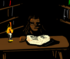 woman looking at book