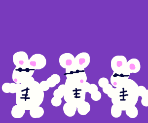 Three buff mice (may also be blind)