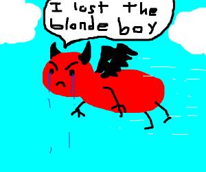 sad flying devil lost young blonde boy