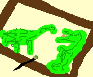 A  dinosaur painting