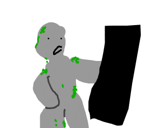 stone guy hits censored rectangle