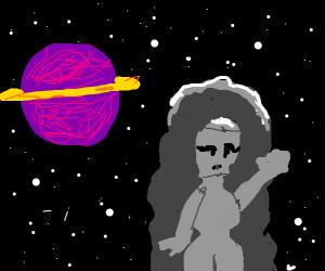 robot woman FLIES into SPACE