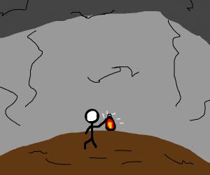 Sad man stuck in a cave